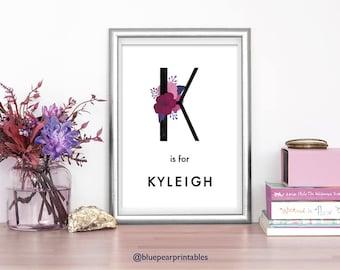 Kyleigh Kids Prints Kids Room Decor Name Wall Art Floral Art Baby Shower Card 4x6 Print 8x10 Printable Kids Poster Floral Name Art