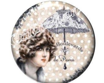 1 cabochon 30mm domed glass, Lady of Paris, vintage, umbrella, miss