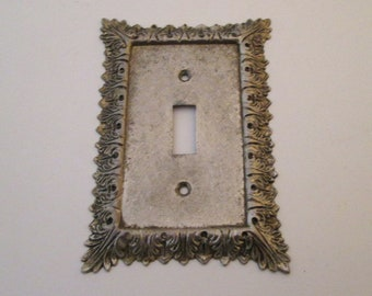 Switch Plate Cover, Vintage, Switchplate, metal light switch cover, Single Toggle, boho decor, switch cover, silver switch cover, cottage