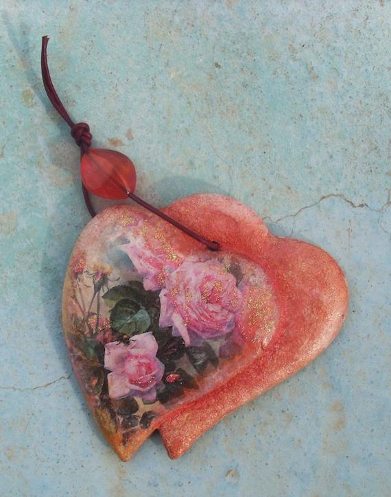 ROSE HEART- Rose Heart Decor - Rose Heart Gift - Ceramic Heart  - Ceramic - Ceramic Pottery - Home Decor - Home Decoration