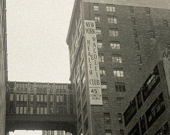 New York Photography vintage Mad Men mid century decor sepia 45th & Lex Health Racquet Club NYC 2001 - Look back - fine art photo