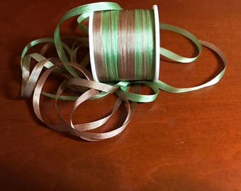 Variegated 4mm silk ribbon in moss and fawn  3 yard put-up