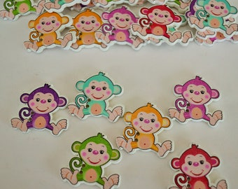 10 x Monkey - Wooden Buttons - 2hole- 29mm x 30mm - Various Colours