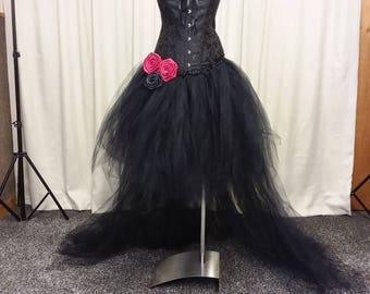 Halloween wedding dress, Gothic gown, steampunk dress, black dress, hi low dress, tutu corset dress, vampire costume,