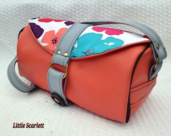 tissusfleurs leatherette peach and grey shoulder bag