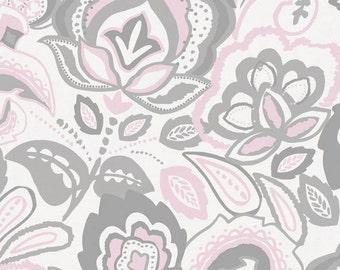 Pink and Gray Jacobean Organic Fabric - By The Yard - Girl / Modern / Fabric