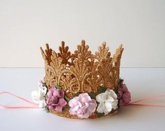 First Birthday Baby Gold Lace Crown - Pink Ivory Mauve Dusty Pink Flowers - Baby Gold Crown - 1st Birthday Cake Smash - Baby Crown Headband