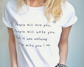 People will love you-rolled-up sleeve white (incl. free top-story card)-Quote-Love-100% organic-Eco Friendly-Organic