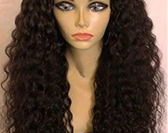 Unprocessed lace front Brazilian human hair wig 24in