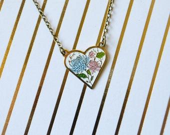 Vintage-Herz Emaille Halskette - Pink & blau Mama - Herz Halskette - weicher Schmelz - Emaille - Emaille Anhänger - Blumen Schmuck