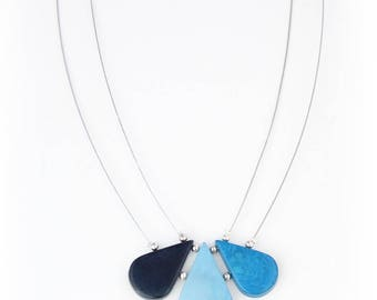 Raindrops Tagua Necklace in Blues