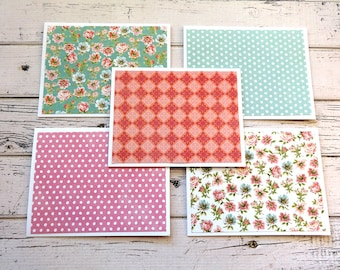 Note Card Set, Note Cards, Thank You Notes, Blank Cards, Set of 5 Note Cards with Matching Envelopes, Floral Note Cards, Primrose Poppy