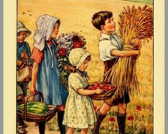 antique victorian children book plate illustration spring harvest book print DIGITAL DOWNLOAD