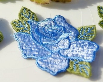 Embroidered Vintage 1960s Flower Applique - Blue Flower Embroidery Patch - Vintage Floral Embroidery Applique Craft Embrollishments #1334
