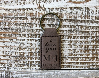 Dark Brown Personalized Key Chain, Leather Engraved Key Chain, Couple KeyChain, --7190