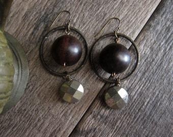 Orbit Earrings,Equinox Earrings,Orbit Hoop Earrings,Circle Earrings,Wood,Pyrite Earrings,Fresh for Fall,Dangle Drop Earrings,Gift for Her,
