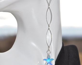 Long & lanky chain and swarovski crystal  starfish earrings