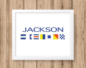 Nautical Flag Alphabet - Personalized Name 8x10, 11x14 or 16x20 Print