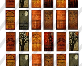 Digital Collage Sheet ,Domino Halloween Images 1X2 (Sheet no. O247) Instant Download