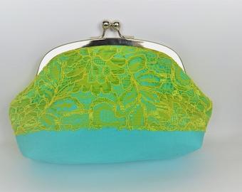 SALE Bright aqua and lime clutch