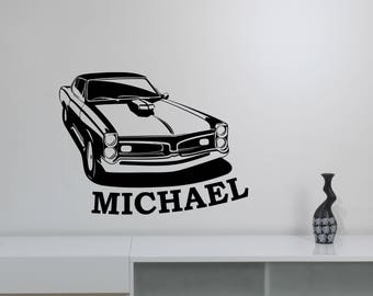 Custom Name Muscle Car Wall Decal American Retro Auto Roadster Vinyl Sticker Racing Sports Art Decorations for Home Kids Boys Room Decor cs1