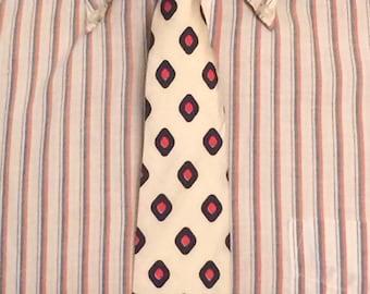 Vintage MENS Sears diamond polka dot silk skinny tie, circa 50s-60s
