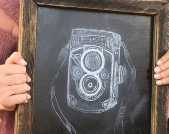 Chalkboard Art. Vintage Camera Art. Framed Chalkboard. Chalkboard Sign. Small Chalkboard. Wooden Chalkboard Sign. Framed Wall Art.