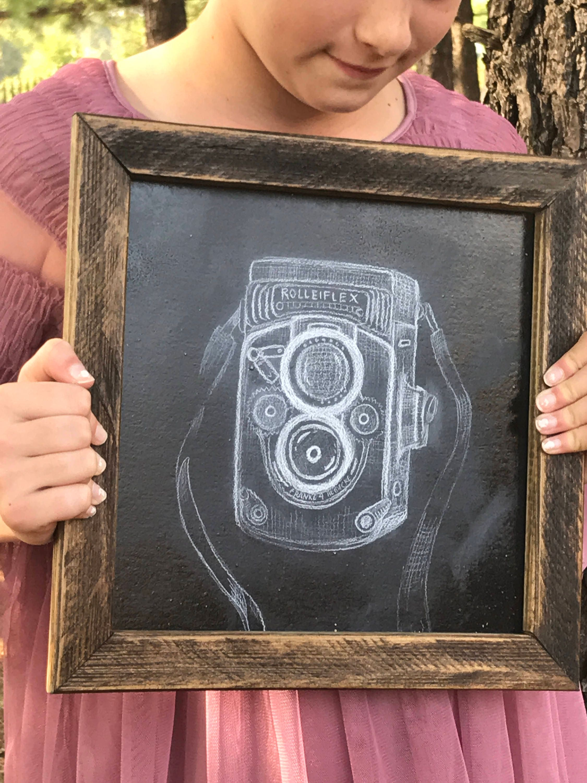 Chalkboard Art. Vintage Camera Art. Framed Chalkboard.