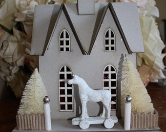 50% OFF DIY assemble House. Comes with house pieces, two bottle brush trees and horse