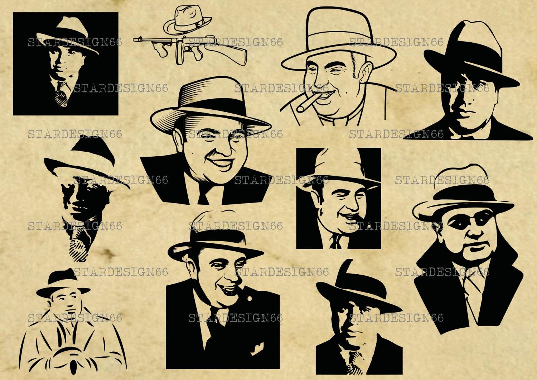 Digital SVG PNG JPG Al Capone gangster mafia silhouette