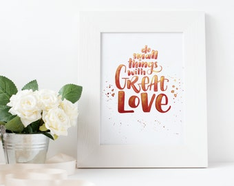 """Original Watercolor Lettering 24 * 32 cm """"Do small things with great love"""" rot-gold"""