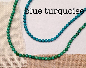 Turquoise 6mm Bead Strand Necklace in Two Colors, Mix the Blue with the Green Turquoise. Add a pendant! 6mm Turquoise Bead Necklace