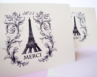Greeting Cards, Note Cards, Stationery, Card Set, Paris Card, Eiffel Tower, Merci, Thank You Card, Set of 8