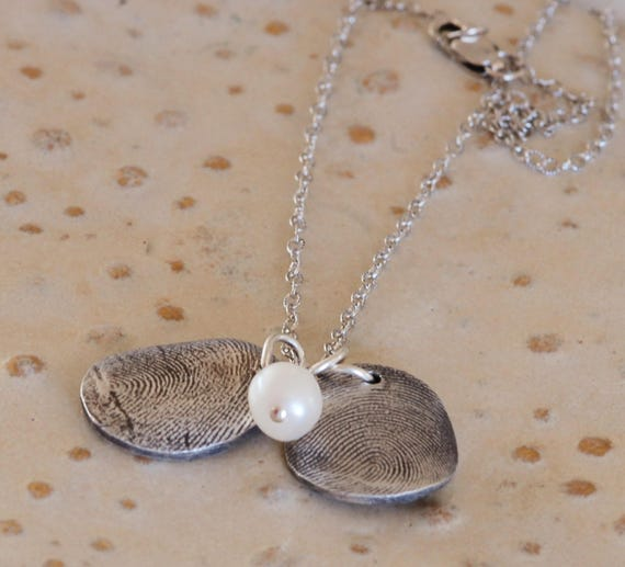 Fingerprint Jewelry - Brother & Sister Thumbprint Charms - Pearl Dangle add on