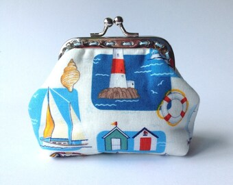 Nautical small kiss lock pouch, Sea boats coin purse, little clutch with marine theme, Beach frame purse, clasp bag ct011