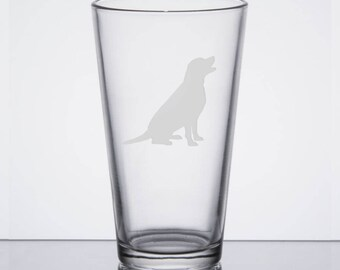 Labrador Retriever Pint Glass Sitting, Black Lab, Yellow Lab Dog Glass, Etched Pint Glass