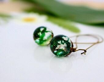 Moss Earrings, Fairy Earrings, Forest Jewelry, Woodland Earrings, Bronze Earwires, Resin Earrings, Real Flower Jewelry, Wishes on the Wind