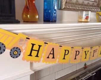 Happy birthday, Construction, dump trucks, birthday banner, I am 1 - first birthday, high chair banner