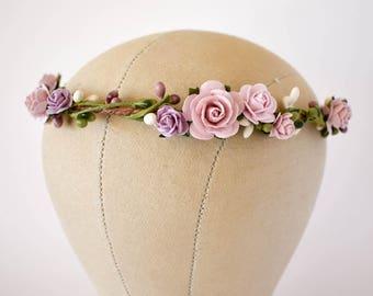 Pink flower crown. Lavender silk floral crown. Wedding hair wreath in soft pinks and lavenders. Bridesmaids circlet. Flower girl headband