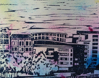 Abstract art / Linocut print on paper - Title : The Southbank IIIII (modern architecture)