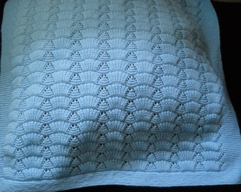 Hand Knitted Infant Baby Newborn  Toddler Afghan Crib Blanket in Blue garter and shell stitch Unisex blanket