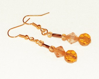 Amber Glass Earrings, Honey Brown Beaded Earrings, Linear Earrings On Gold-Plated Ear-Wires