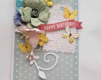 Pretty floral birthday card - Dimensional card - Embellished handmade card