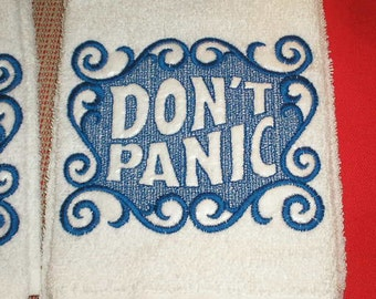 "your colors hand Towel ""Don't Panic"" Embroidered Hitchhikers guide to the galaxy homage"