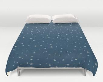 Starry Night Duvet Cover, Made to Order, Navy Blue, Patriotic Bedding, Star Decorative Bedding, Unique Design, Dorm bedding, Bedroom