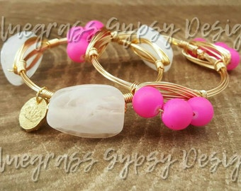 Hot Pink Wire Bracelet, Bracelet, Bangle, Bourbon & Boweties Inspired
