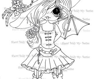 INSTANT DOWNLOAD Digital Digi Stamps  Digi Big Eye Big Head Dolls Digi  Scan0004 Steam Punk Bestie By Sherri Baldy