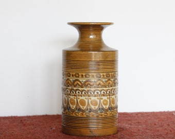Retro Denby Cylinder or Sleeve Vase, C. 1970, Minaret Pattern, Designed by David Yorath