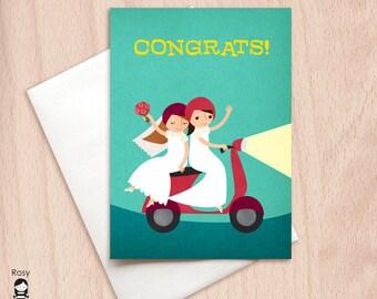 Bride & Bride Moped Lesbian Wedding Congrats - Vespa Same Sex Wedding Congratulations Greeting Card