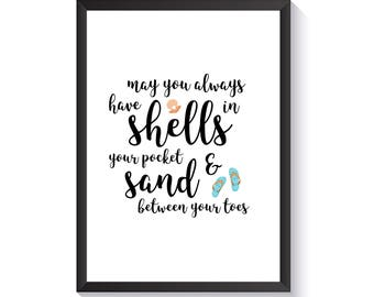 Shells in Your Pocket Wall Art - Beach Print - Simple Prints - Nursery Decor - Kids Room Art - Nursery Prints - Kids Prints - Wall Prints